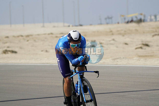 Albert Torres Barcelo (ESP) Movistar Team during Stage 2 of the 2021 UAE Tour an individual time trial running 13km around  Al Hudayriyat Island, Abu Dhabi, UAE. 22nd February 2021.  <br /> Picture: Eoin Clarke | Cyclefile<br /> <br /> All photos usage must carry mandatory copyright credit (© Cyclefile | Eoin Clarke)