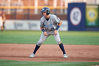 West Michigan Whitecaps second baseman Kody Clemens (21) leads off first base during a game against the Quad Cities River Bandits on July 22, 2018 at Modern Woodmen Park in Davenport, Iowa.  West Michigan defeated Quad Cities 6-4.  (Mike Janes/Four Seam Images)