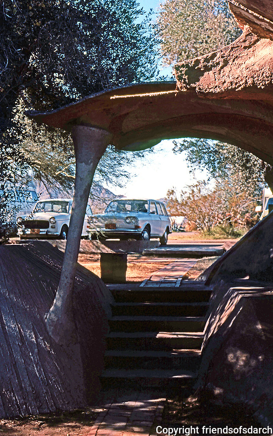 Paolo Soleri: Cosanti Foundation, Scottsdale--entrance. Photo '77.