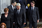 Ex Prime Ministers Felipe Gonzalez and Jose Maria Aznar await the arrival of the coffin before the funeral chapel in honor of Prime Minister Adolfo Suarez in the Congress of Deputies in Madrid, Spain. March 24, 2014. (ALTERPHOTOS/Caro Marin)
