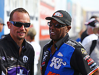 Feb 22, 2015; Chandler, AZ, USA; NHRA funny car driver Jack Beckman (left) talking with Steve Williams during the Carquest Nationals at Wild Horse Pass Motorsports Park. Mandatory Credit: Mark J. Rebilas-