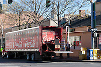 Morning Coca-cola delivery starts the day in White Plains, New York