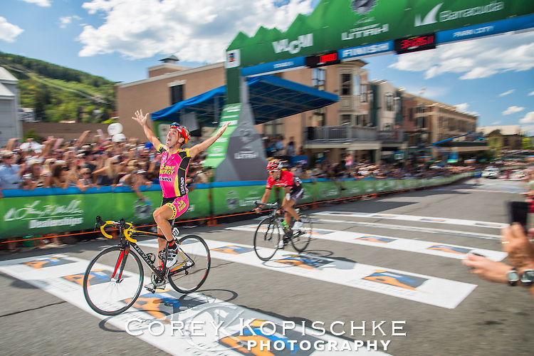 Francisco Mancebo (Spain) crosses the finish line for the stage 6 victory of the tour of Utah 2013 in downtown Park City Utah.