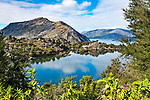 Arethusa Pool is a glacially formed lake situated high up on the island of Mou Waho in the middle of Lake Wanaka, itself a glacially formed lake