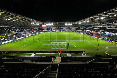 12th November 2020; Liberty Stadium, Swansea, Glamorgan, Wales; International Football Friendly; Wales versus United States of America; A general view of the Liberty Stadium empty due to the pandemic