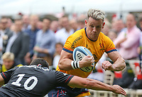 Thursday 9th September 20218 <br /> <br /> Craig Gilroy scores during the pre-season friendly between Saracens and Ulster Rugby at the Honourable Artillery Company Grounds, Armoury House, London, England. Photo by John Dickson/Dicksondigital