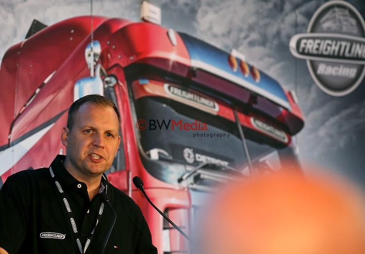Senior Manager of Freightliner Trucks NZ Pieter Theron. Freightliner V8 Supercars Evening, Harley Davidson, Mt Wellington, Auckland, New Zealand. Friday 6 November 2015. Photo: Simon Watts/bwmedia. <br /> © www.bwmedia.co.nz/Daimler-Benz NZ