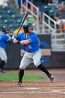 Zac Law (6) of the Hudson Valley Renegades at bat against the Aberdeen IronBirds at Leidos Field at Ripken Stadium on July 27, 2017 in Aberdeen, Maryland.  The Renegades defeated the IronBirds 2-0 in game one of a double-header.  (Brian Westerholt/Four Seam Images)