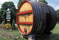 wine barrel, NY, Romulus, Finger Lakes, New York, Cayuga Lake, Logan Ridge Estates Winery sign on the Seneca Wine Trail in the wine growing region of the Finger Lakes.