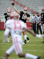 Arkansas quarterback Kade Renfro (18) passes the ball Saturday, April 3, 2021, during a scrimmage at Razorback Stadium in Fayetteville. Visit nwaonline.com/210404Daily/ for today's photo gallery. <br /> (NWA Democrat-Gazette/Andy Shupe)