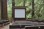 Outdoor theater in the  Redwoods, Redwood National Park, Prarie Creek Redwoods State Park, California, USA  Theater in campground used for presentations.   Redwood National and Redwood State Parks include numerous camp grounds, rivers, hiking, fishing, camping, photography, birding, biking and other outdoor adventures.