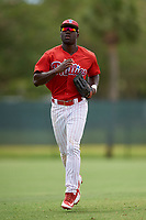 GCL Phillies East right fielder James Smith (22) jogs back to the dugout during a game against the GCL Blue Jays on August 10, 2018 at Carpenter Complex in Clearwater, Florida.  GCL Blue Jays defeated GCL Phillies East 8-3.  (Mike Janes/Four Seam Images)