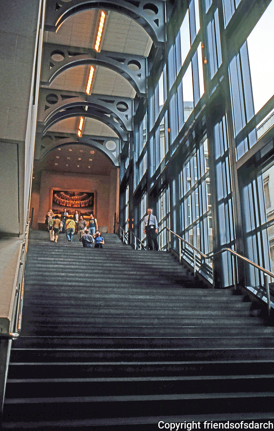 London: Sainsbury Wing of National Gallery--Grand Staircase. Robert Venturi.