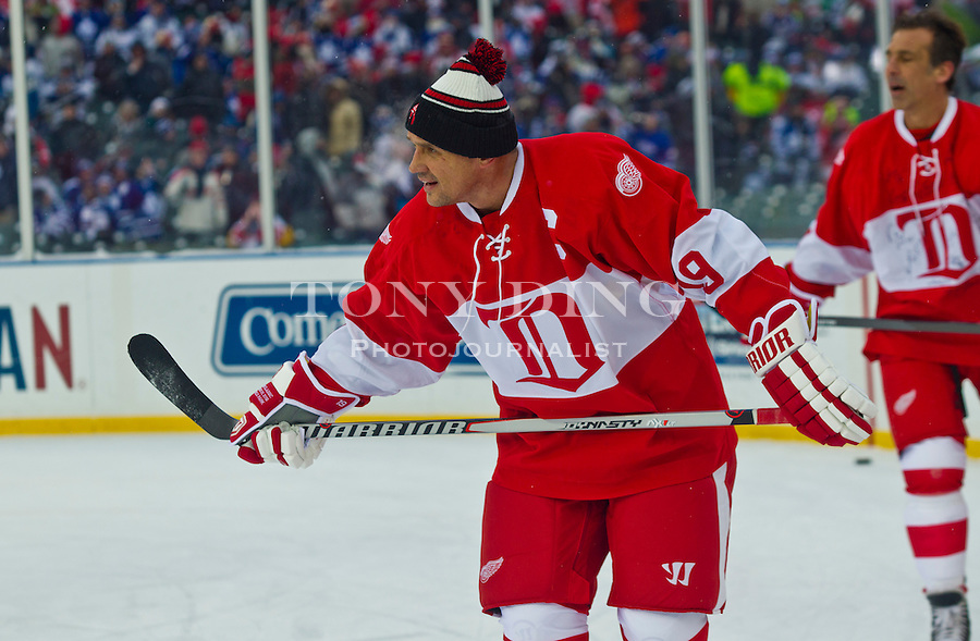 31 December 2013: Former Detroit Red Wings forward Steve Yzerman (19) during warmups before the Toronto Maple Leafs v Detroit Red Wings Alumni Showdown hockey game, at Comerica Park, in Detroit, MI.