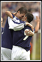 28/9/02       Copyright Pic : James Stewart                     .File Name : stewart-falkirk v st j'stone 23.KEVIN JAMES (LEFT) IS CONGRATULATED BY OWEN COYLE AFTER SCORING THE LATE WINNER.....James Stewart Photo Agency, 19 Carronlea Drive, Falkirk. FK2 8DN      Vat Reg No. 607 6932 25.Office : +44 (0)1324 570906     .Mobile : + 44 (0)7721 416997.Fax     :  +44 (0)1324 570906.E-mail : jim@jspa.co.uk.If you require further information then contact Jim Stewart on any of the numbers above.........