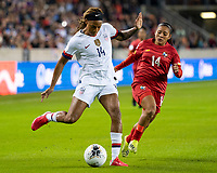 HOUSTON, TX - JANUARY 31: Jessica McDonald #14 of the USA attacks against Maryorie Perez #14 of Panama during a game between Panama and USWNT at BBVA Stadium on January 31, 2020 in Houston, Texas.