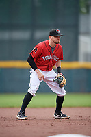 Erie SeaWolves third baseman Kody Eaves (22) during an Eastern League game against the Akron RubberDucks on June 2, 2019 at UPMC Park in Erie, Pennsylvania.  Akron defeated Erie 7-2 in the first game of a doubleheader.  (Mike Janes/Four Seam Images)
