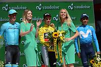 17th June 2018, Tour De Suisse; stage 9 from Bellinzona to Bellinzona;  Bmc Racing Team; Porte, Richie; in Bellinzona with his winners trophy alongside Fuglsang, Jacob; Quintana Rojas Nairo, Alexander