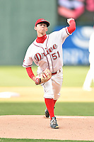 Greenville Drive starting pitcher Matt Kent (51) delivers a pitch during a game against the Asheville Tourists at Fluor Field on April 7, 2016 in Greenville South Carolina. The Drive defeated the Tourists 4-3. (Tony Farlow/Four Seam Images)
