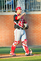 Delaware State Hornets catcher Eddie Sorondo (22) on defense against the Charlotte 49ers at Robert and Mariam Hayes Stadium on February 15, 2013 in Charlotte, North Carolina.  The 49ers defeated the Hornets 13-7.  (Brian Westerholt/Four Seam Images)