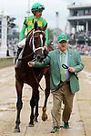 LOUISVILLE, KY - MAY 06: Mike Smith, aboard Arklow #6, after winning the American Turf Stakes on Kentucky Derby Day at Churchill Downs on May 6, 2017 in Louisville, Kentucky. (Photo by Candice Chavez/Eclipse Sportswire/Getty Images)