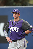 Riley Ferrell (18) of the TCU Horned Frogs before a game against the Loyola Marymount Lions at Page Stadium on March 16, 2015 in Los Angeles, California. TCU defeated Loyola, 6-2. (Larry Goren/Four Seam Images)