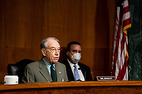 "United States Senator Chuck Grassley (Republican of Iowa) speaks during a Senate Judiciary Committee Hearing ""to examine COVID-19 fraud, focusing on law enforcement's response to those exploiting the pandemic"" on Capitol Hill in Washington, DC on June 9, 2020. <br /> Credit: Erin Schaff / Pool via CNP/AdMedia"