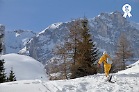 Woman snowshoeing, French Alps, France (Licence this image exclusively with Getty: http://www.gettyimages.com/detail/92907732 )