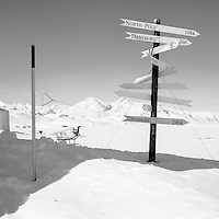 Signs showing distances to various locations (e.g. Copenhagen: 2464, North Pole: 1984) in Mestersvig. Mestersvig is a military outpost with a runaway in the Scoresby Land region of the Northeast Greenland National Park. Originally built in anticipation of mining in the area it has been run by the Danish defence department since 1988. The place is staffed by two men whose duties include maintenance of buildings and the airfield and support of other activities in the area.