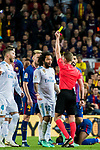 Marcelo Vieira Da Silva of Real Madrid reacts as referee Alejandro Jose Hernandez Hernandez during the La Liga 2017-18 match between FC Barcelona and Real Madrid at Camp Nou on May 06 2018 in Barcelona, Spain. Photo by Vicens Gimenez / Power Sport Images