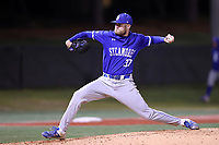 ELON, NC - FEBRUARY 28: Tyler Grauer #37 of Indiana State University throws a pitch during a game between Indiana State and Elon at Walter C. Latham Park on February 28, 2020 in Elon, North Carolina.