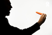 Silhouette of man holding carrot against white background (Licence this image exclusively with Getty: http://www.gettyimages.com/detail/sb10068346ax-001 )