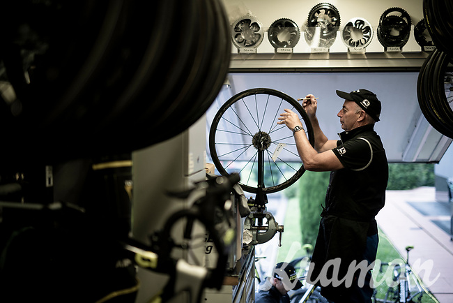 Team Mitchelton-Scott mechanic prepping wheels for the last week of the Giro<br /> <br /> restday 2 (27 may) of the 102nd Giro d'Italia 2019 <br /> <br /> ©kramon