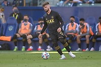 CARSON, CA - MAY 8: Tristan Blackmon #27 of LAFC moves with the ball during a game between Los Angeles FC and Los Angeles Galaxy at Dignity Health Sports Park on May 8, 2021 in Carson, California.