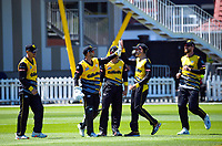 The Firebirds celebrate a wicket during the t20 cricket match between the Wellington Firebirds and Pakistan at Basin Reserve in Wellington, New Zealand on Tuesday, 29 December 2020. Photo: Dave Lintott / lintottphoto.co.nz