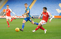 Fleetwood Town's Ross Wallace crosses despite the attentions of Shrewsbury Town's Greg Docherty<br /> <br /> Photographer Kevin Barnes/CameraSport<br /> <br /> The EFL Sky Bet League One - Shrewsbury Town v Fleetwood Town - Tuesday 1st January 2019 - New Meadow - Shrewsbury<br /> <br /> World Copyright © 2019 CameraSport. All rights reserved. 43 Linden Ave. Countesthorpe. Leicester. England. LE8 5PG - Tel: +44 (0) 116 277 4147 - admin@camerasport.com - www.camerasport.com