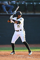 Bristol Pirates Daniel Rivero (15) bats against the Pulaski Yankees at Boyce Cox Field on July 8, 2019 in Bristol, Virginia. The Yankees defeated the Pirates 5-0. (Tracy Proffitt/Four Seam Images)