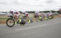 Team Katusha speeding along<br /> <br /> stage 9: TTT Vannes - Plumelec (28km)<br /> 2015 Tour de France