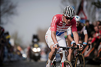Mathieu Van Der Poel (NED/Correndon-Circus) returning to the main group up the Oude Kwaremont after an earlier crash <br /> <br /> 103rd Ronde van Vlaanderen 2019<br /> One day race from Antwerp to Oudenaarde (BEL/270km)<br /> <br /> ©kramon