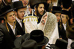 Israel, Bnei Brak. The Synagogue of the Premishlan congregation, Simchat Torah (on the eights day of Succot), the Rebbe dances with the Torah 2005<br />