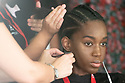 Model Khar Ndoye in the backstage during the Swimwear Fashion Week at Expomeloneras in Maspalomas, Gran Canaria Island, Canary Islands on October 3, 2019.