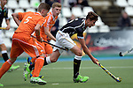 GER - Mannheim, Germany, May 16: During the whitsun tournament boys hockey match between Germany (black) and The Netherlands (orange) on May 16, 2016 at Mannheimer HC in Mannheim, Germany. Final score 4-3 (HT 2-0). (Photo by Dirk Markgraf / www.265-images.com) *** Local caption *** Nick Doeser #5 of The Netherlands, Moritz Ludwig #6 of Germany (U16)