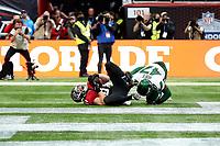 10th October 2021; Tottenham Hotspur stadium, London, England; NFL UK Series, Atlanta Falcons versus New York Jets: Atlanta Falcons Tight end Hayden Hurst (81) scores a touchdown