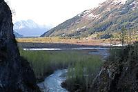 The Alaska Railroad's Coastal Classic train runs through spectacular scenery as it travels between Anchorage and Seward.
