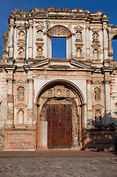Antigua, Guatemala.  Ruins of the Compania de Jesus Church and Monastery, destroyed by earthquakes in 18th and 20th Centuries.  Note construction techniques: brick covered by plaster.