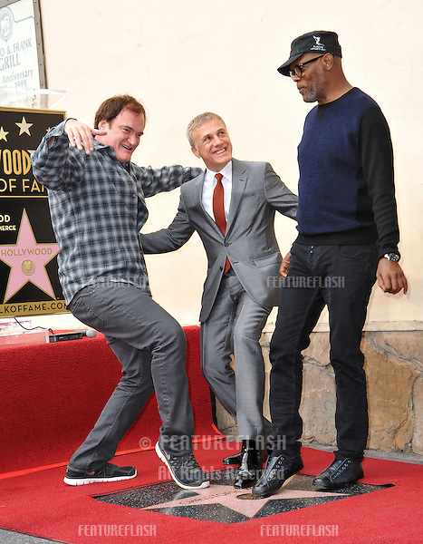 Christoph Waltz with Quentin Tarantino & Samuel L. Jackson at Hollywood Walk of Fame ceremony honoring Christoph Waltz with the 2,536th star on the Walk of Fame.<br /> December 1, 2014  Los Angeles, CA<br /> Picture: Paul Smith / Featureflash