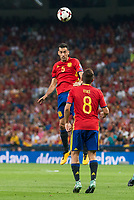 Spain's Sergio Busquets and Koke Resurrección during match between Spain and Italy to clasification to World Cup 2018 at Santiago Bernabeu Stadium in Madrid, Spain September 02, 2017. (ALTERPHOTOS/Borja B.Hojas)
