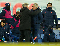 10th February 2021, Goodison Park, Liverpool, England;  Tottenham Hotspurs manager Jose Mourinho R embraces Evertons manager Carlo Ancelotti at the final whistle during the FA Cup 5th round match between Everton FC and Tottenham Hotspur FC at Goodison Park