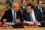 The Minister of Education Jose Ignacio Wert and the Prime Minister Mariano Rajoy converse  during a royal audience with the board of the Carolina Fundation at Zarzuela Palace in Madrid, Spain. June 17, 2015.<br />  (ALTERPHOTOS/BorjaB.Hojas)