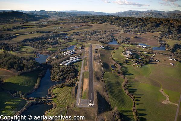 aerial photograph of runway 31, Healdsburg Municipal Airport (HES), Healdsburg, Sonoma County, California